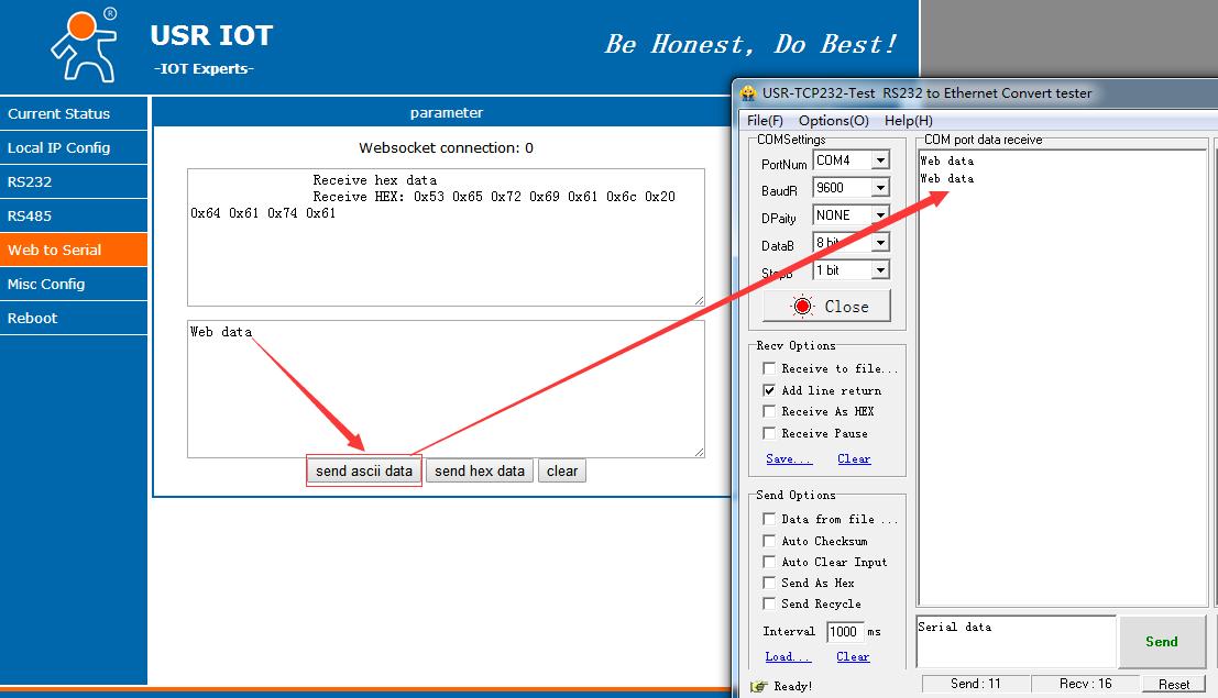 WebSocket Function of Serial to Ethernet Converter