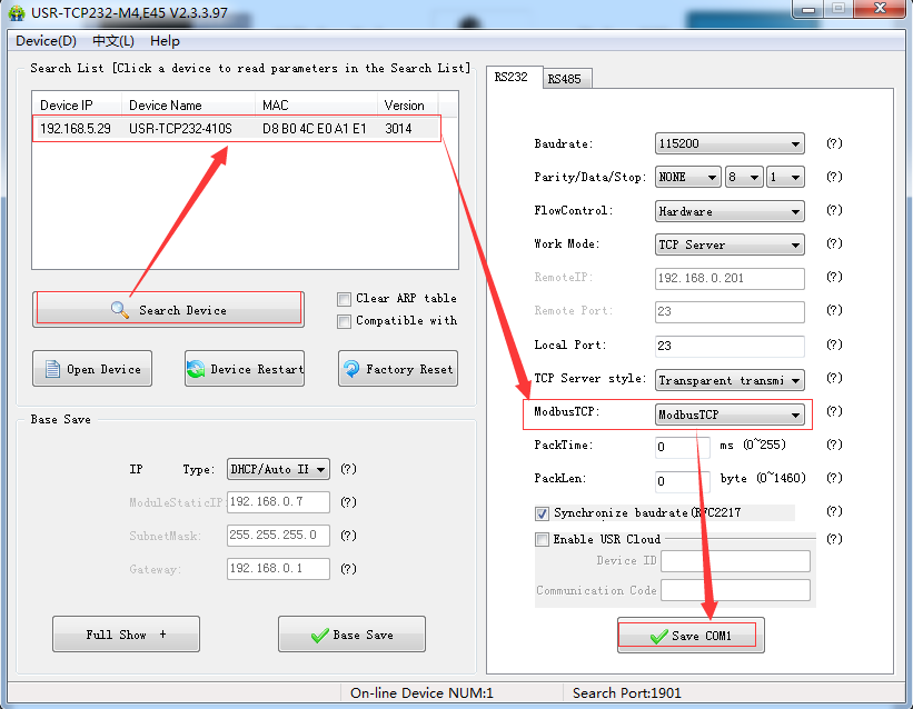 Modbus TCP function by setup software or Web Server