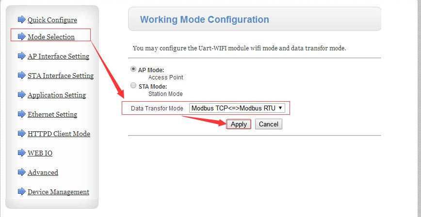 configure 630 to Modbus RTU, working mode configuration
