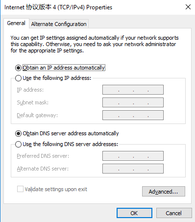 configure G800 Web Server-Configure PC to DHCP mode