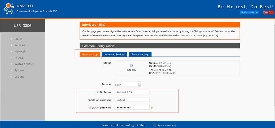 G806+H3C WSR800-10 realize VPN networking-Configure General Setup of VPN interface