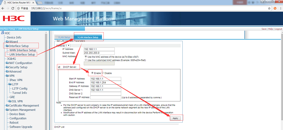 G806+H3C WSR800-10 realize VPN networking-Configure LAN interface