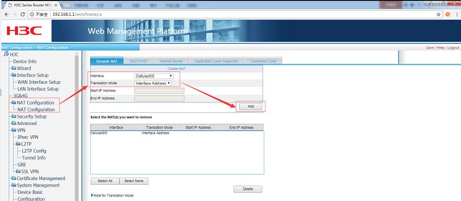 G806+H3C WSR800-10 realize VPN networking-Configure NAT
