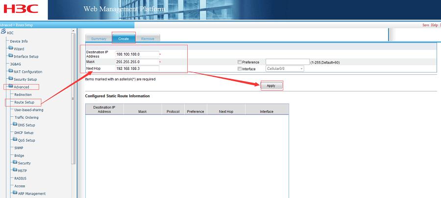 G806+H3C WSR800-10 realize VPN networking- Configure Route Setup