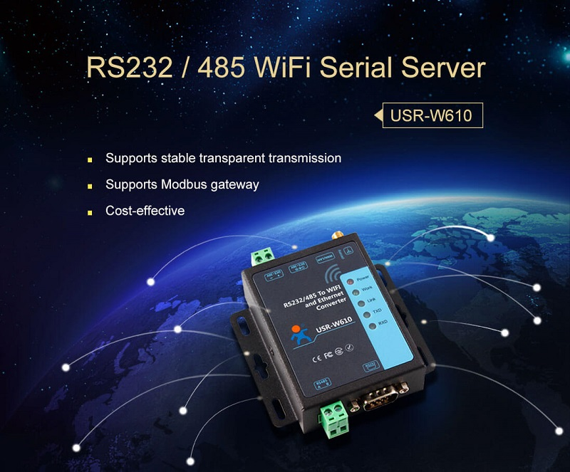 Serial to WiFi and Ethernet Converter which supports stable transparent transmission and modbus gateway