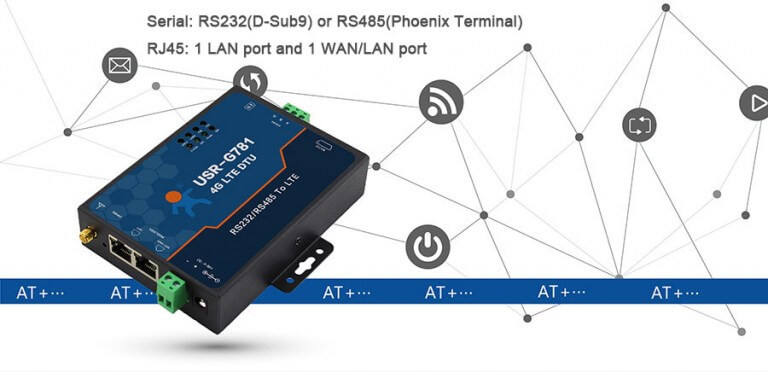 Industrial 4G LTE Modem: Serial:RS232(d-Sub9) or RS485(phoenix terminal)