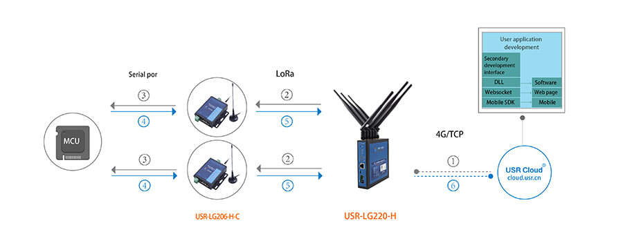 User application development -Serial RS232 RS485 to LoRa Converter