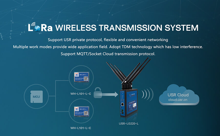 LoRa wireless transmission system support usr private protocol, flexible and convenient networking