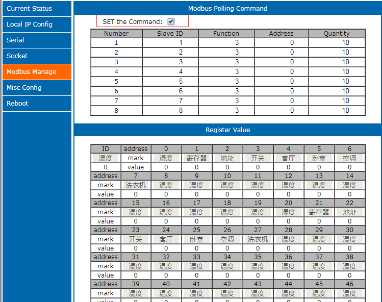Modbus polling command