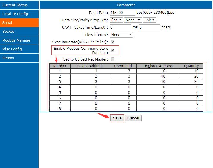 Modbus Gateway parameter, application diagram