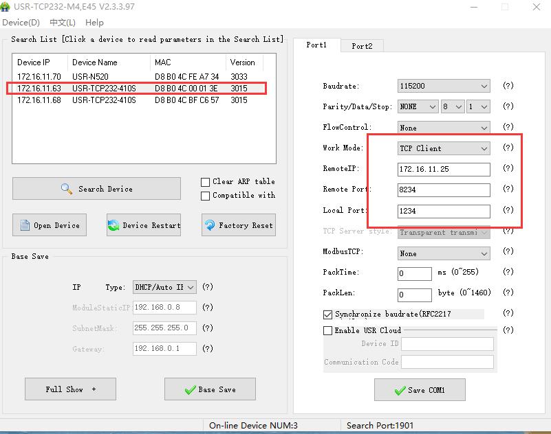 Setting method of Serial to Ethernet Converter