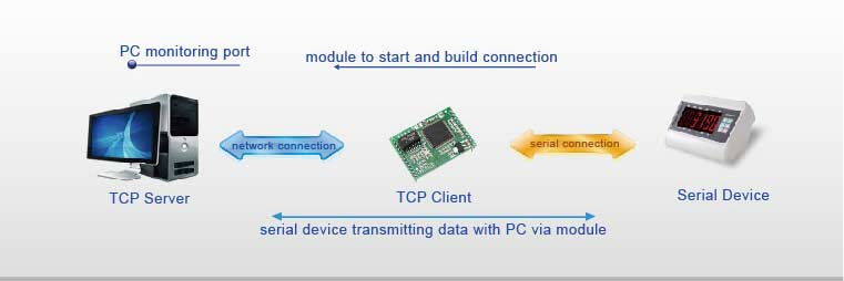 TCP Client Mode, Work Mode of Modbus TCP to Ethernet IP Modules