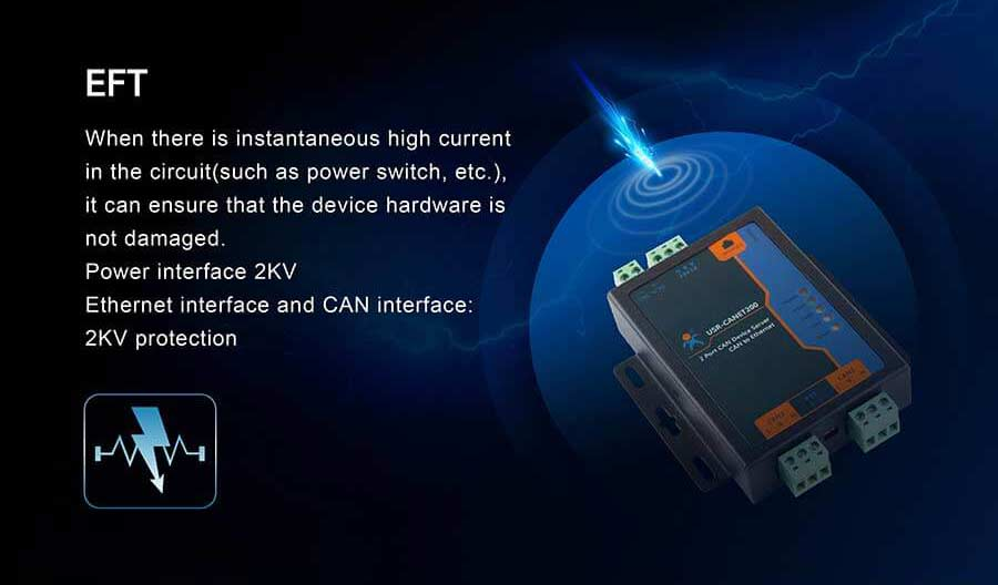 EFT, Feartures of Industrial CAN to Ethernet Converter