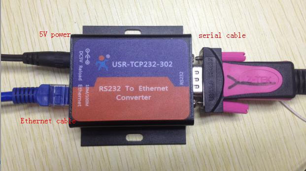 The loopback test of the USR-TCP232-302, connection of serial to ethernet converter