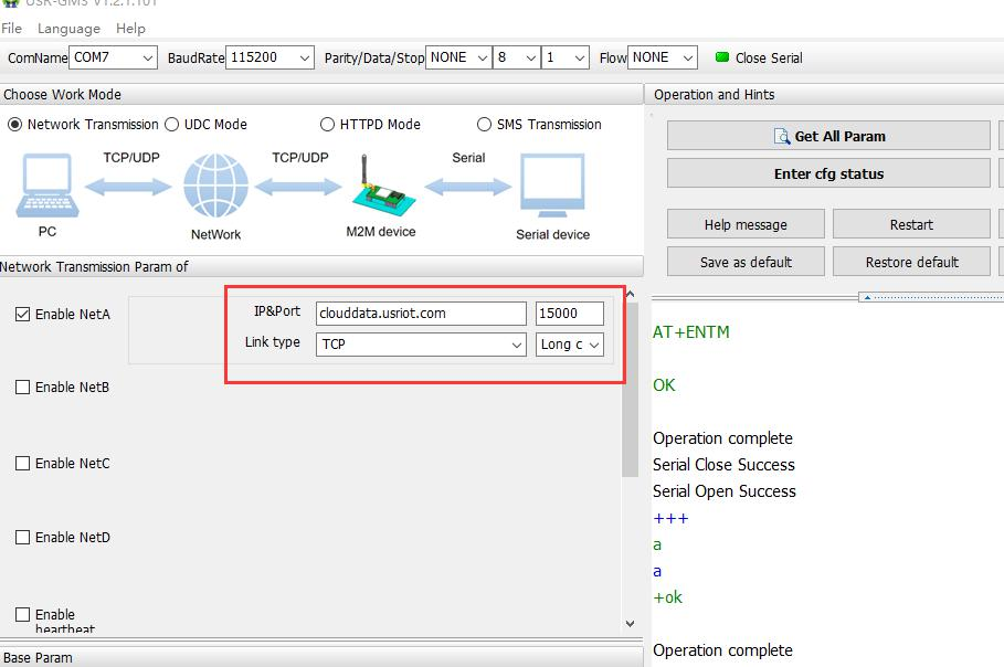 Industrial GSM Modems Using USR-cloud to Achieve One to One Communication,modem device setup parameters