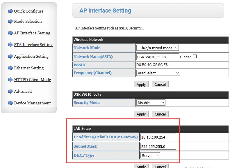 WIFI series joins router, the LAN port IP is AP mode IP