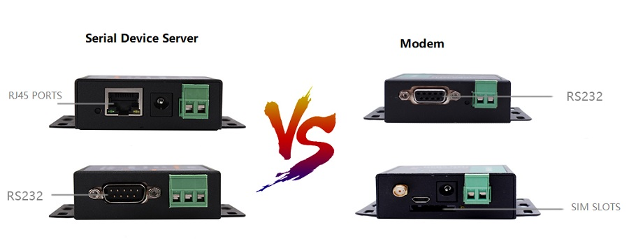 The differance between serial device server and modem