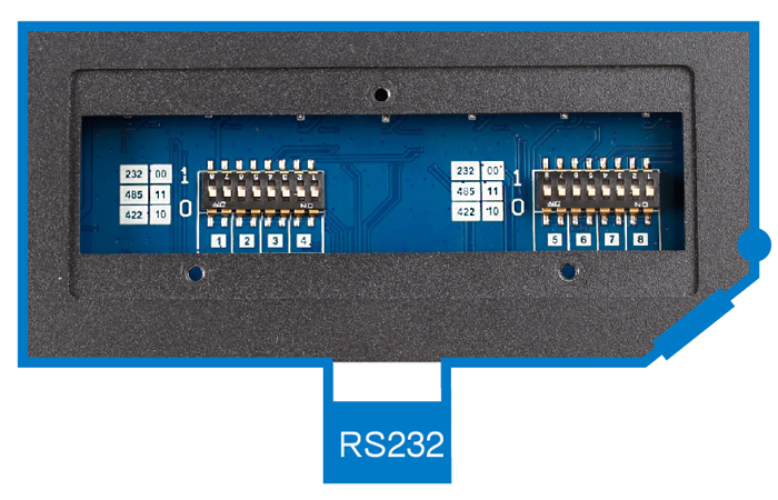 RS232 dial switch dial to 00