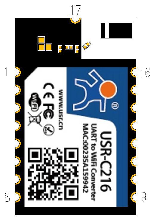 The Dimensions of WIFI Module USR-C216 02