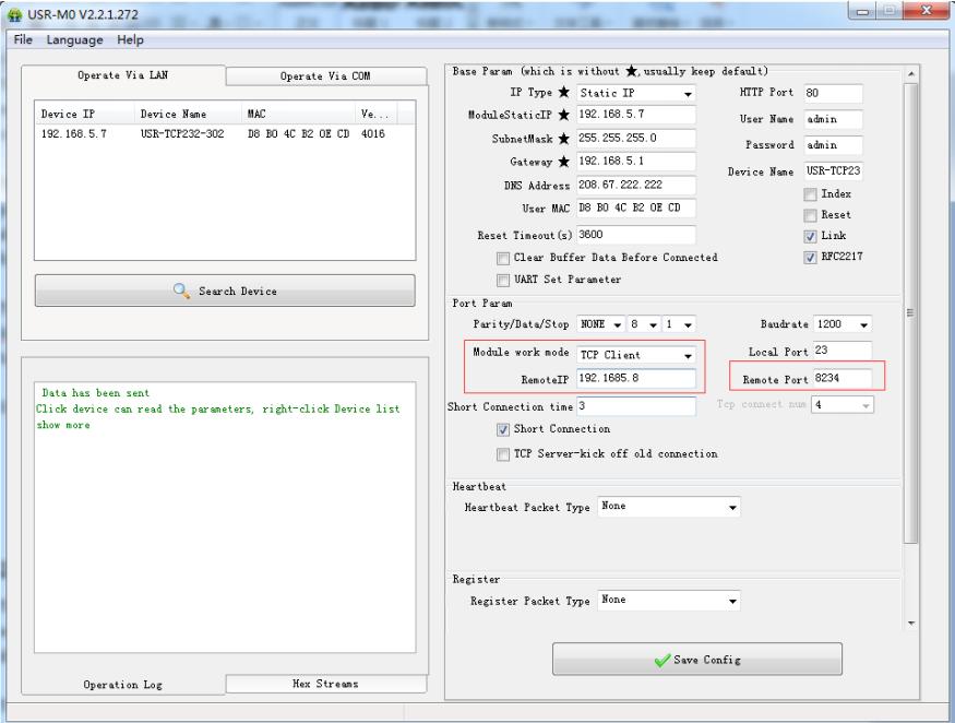 setup software or web server USR-TCP232-306