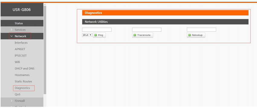 USR-G806 has network diagnosis function by Web Server