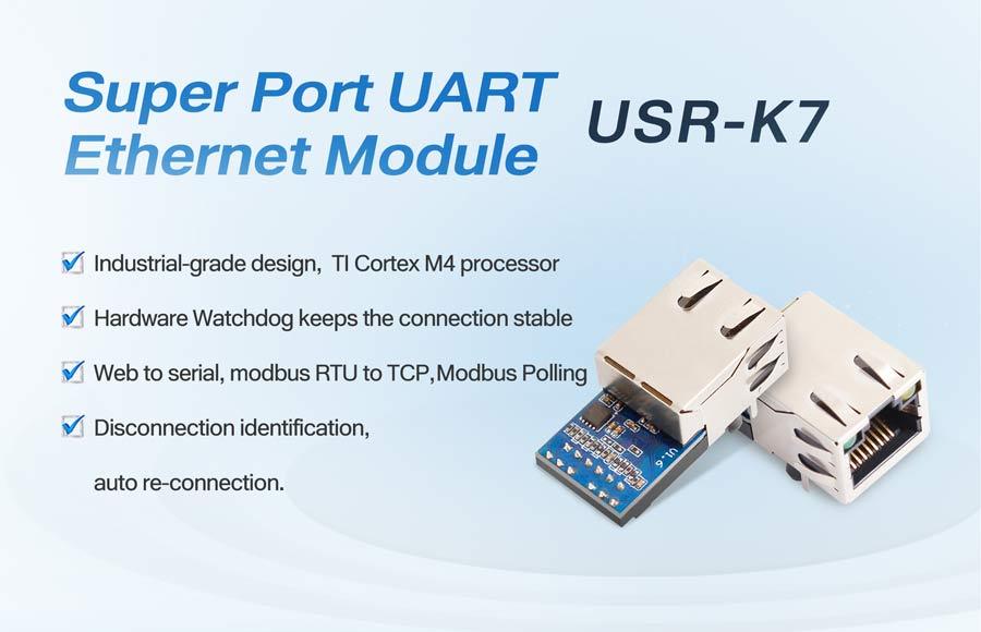Super Port UART Ethernet Module USR-K7