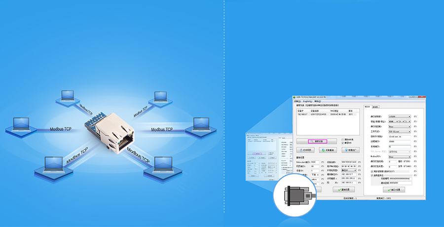 USR-K7 supports modbus gateway, custom build-in web page, web to serial