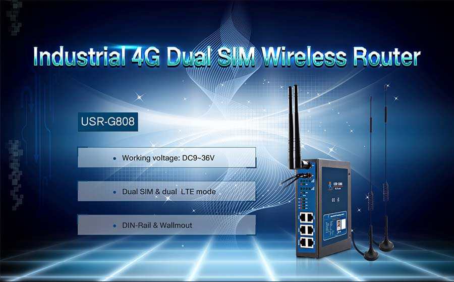 industrial 4G dual sim wireless router USR-G808