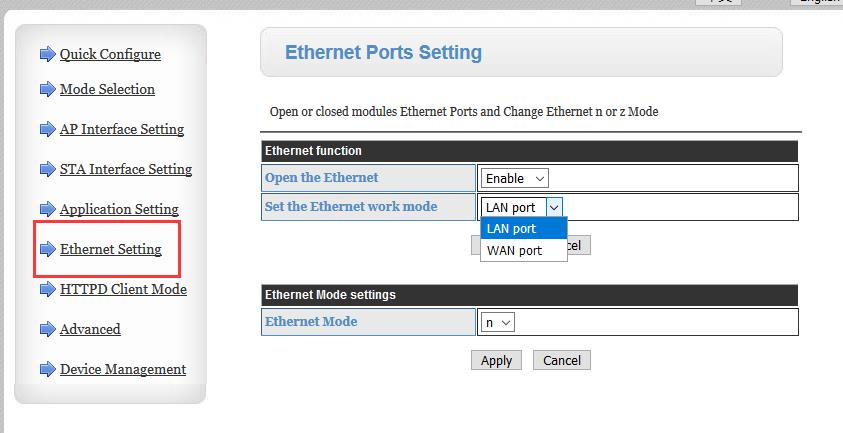 8.Ethernet Setting, W610 has one ethernet port