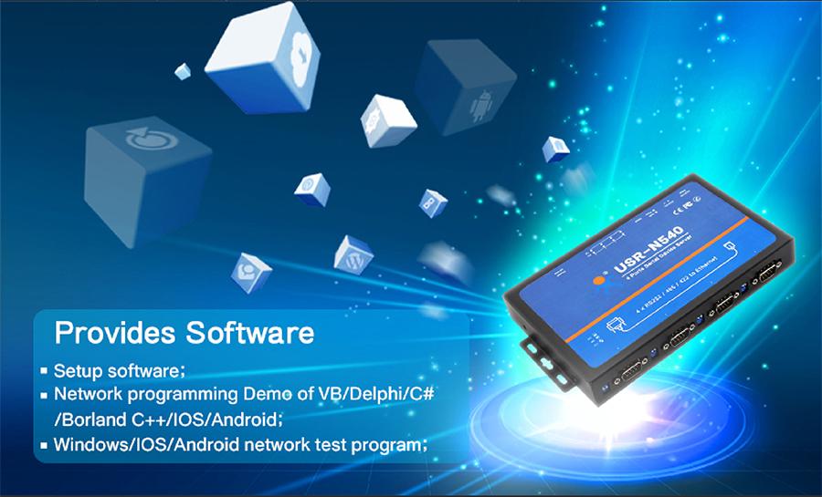 USR-N540, 4 serial ports serial to IP Converter: provide software