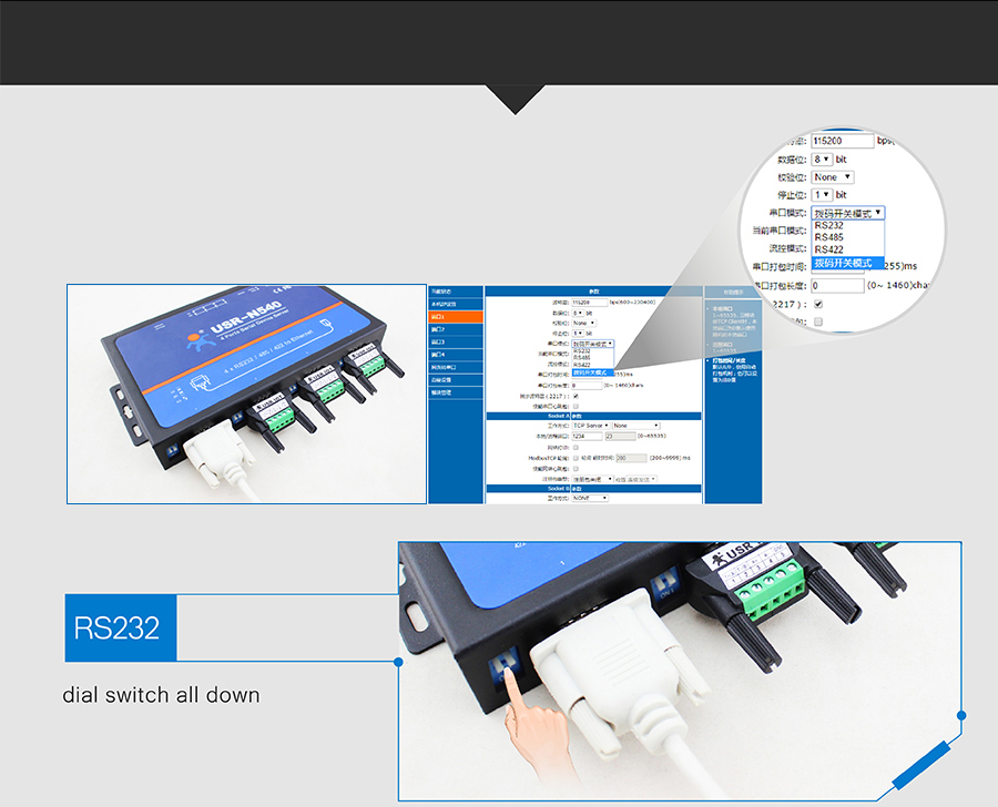 Serial Port Switching Among RS232/RS485/RS422 rs422 to ethernet/rs232 to lan converter/rs232 to tcp ip converter/converter rs485 to ethernet