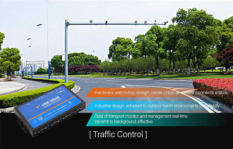 application of USR-N540 - Serial to IP converters: Traffic control
