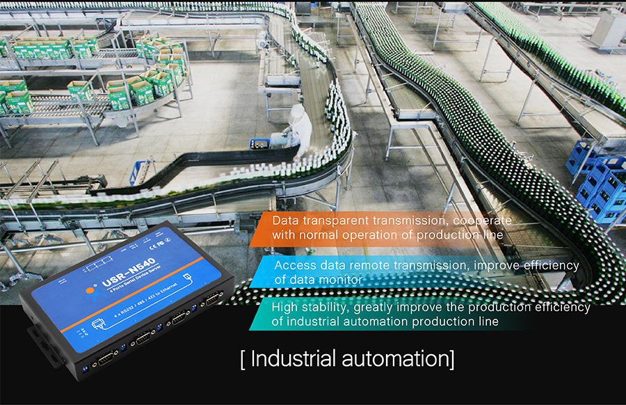 application of USR-N540-4 serial ports serial to IP Converter: industrial automation