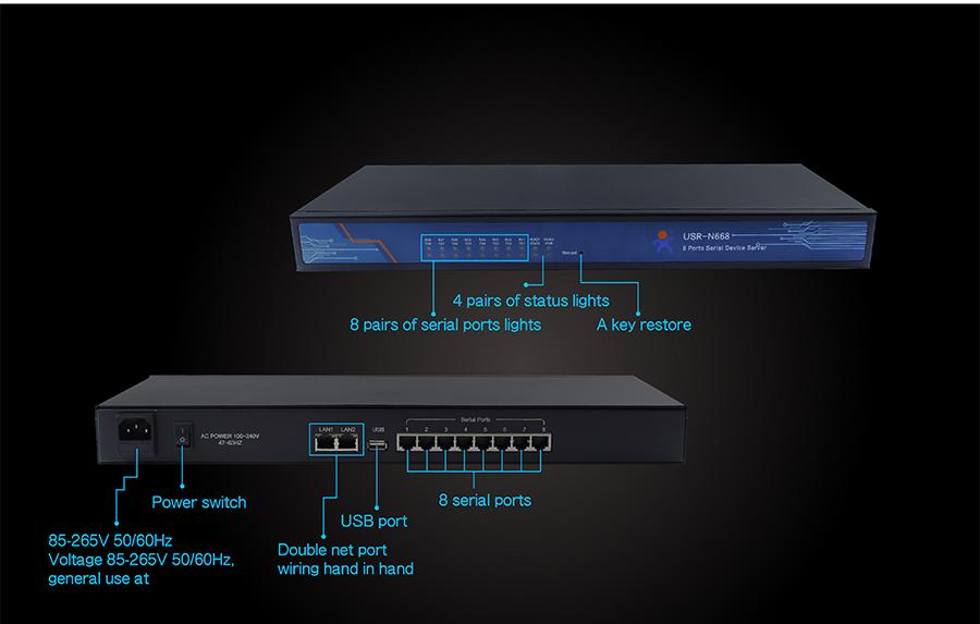 interface introduce of industrial 8 serial port ethernet converter USR-N668