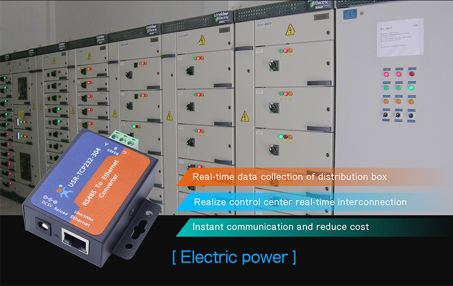 application of rs485 to tcp ip converters: Electric power