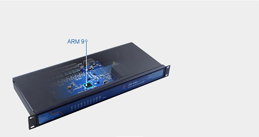 industrial 8 serial port ethernet converter USR-N668: ARM9 solution,64MB built-in RAM, 16MB Flash, high speed