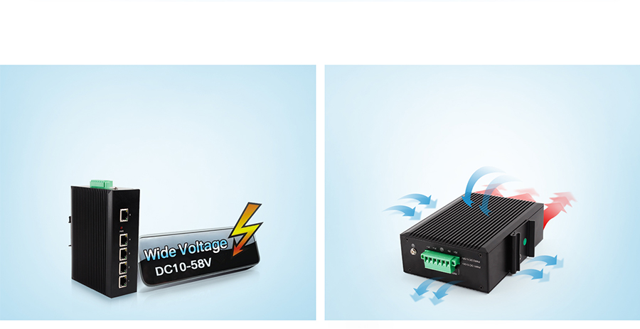Ethernet switch USR-SDR050 function:Wide Power Supply, Natural heat dissipation