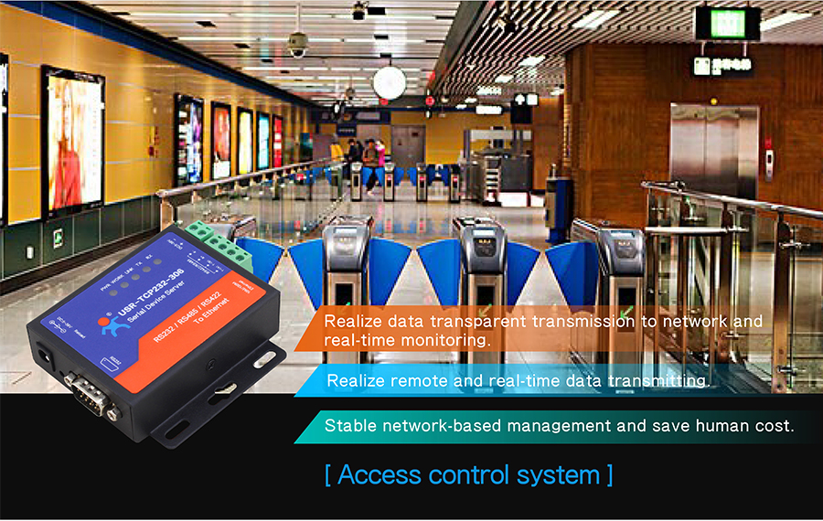 Application Field of Ethernet to serial converter USR-TCP232-306: Access control system