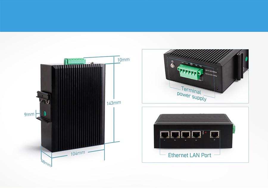 Ethernet switch USR-SDR050: terminal power supply, ethernet lan port,