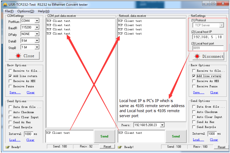 tcp client mode data transmission