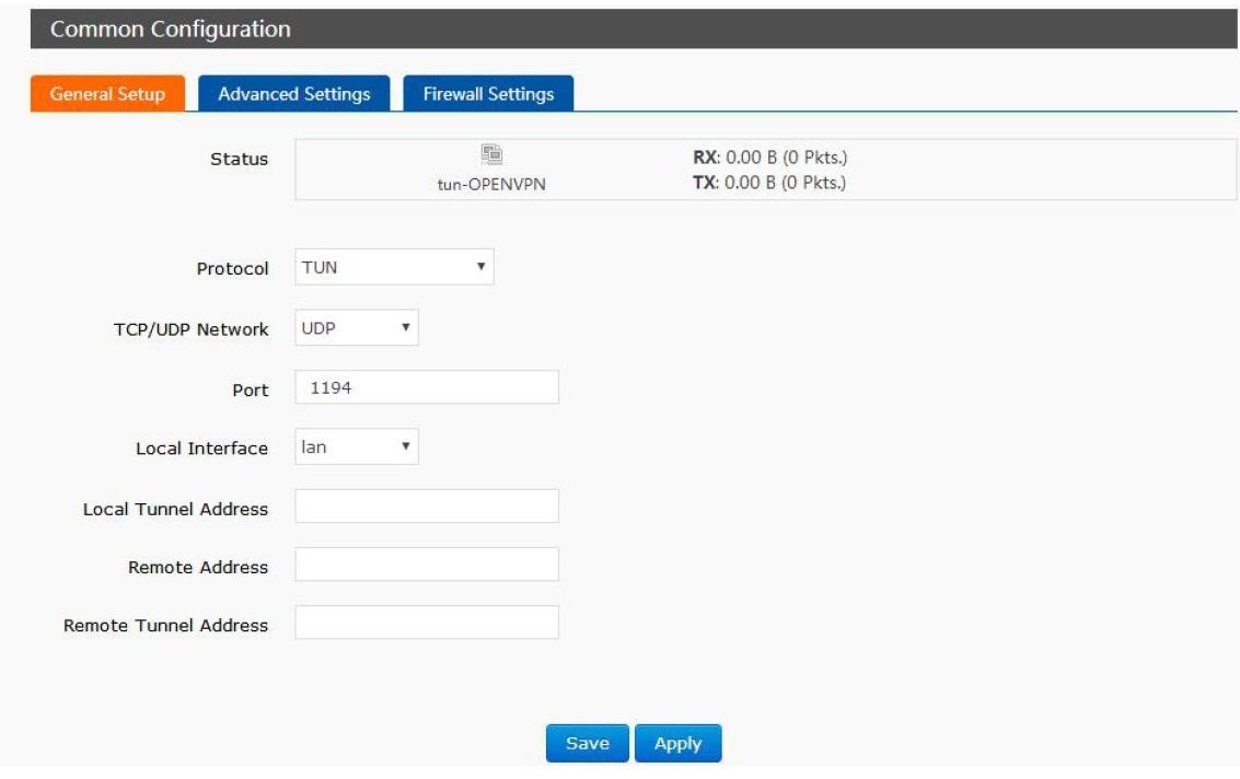 Configure OPENVPN interface