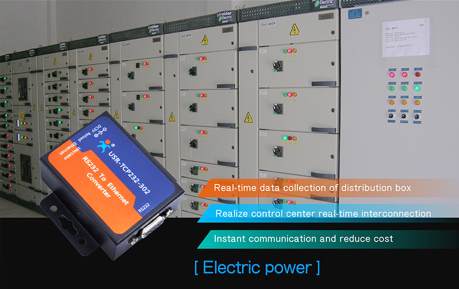 Application field of ethernet to rs232 converter: electric power