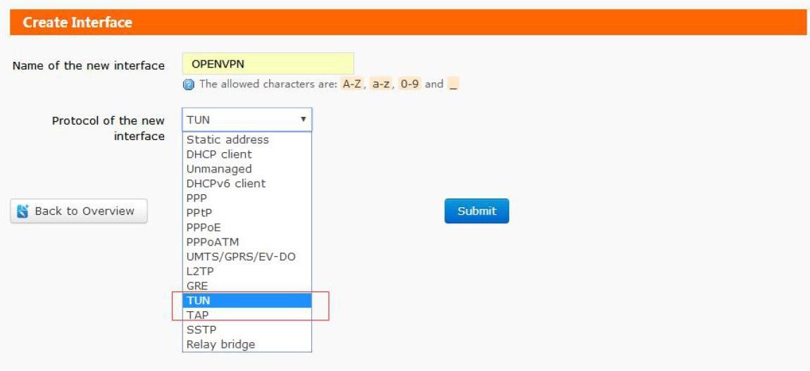 Protocol can be TUN(Route mode) or TAP(Bridge mode).