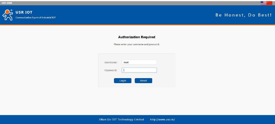enter G806 Web Server by entering G806 LAN interface IP address