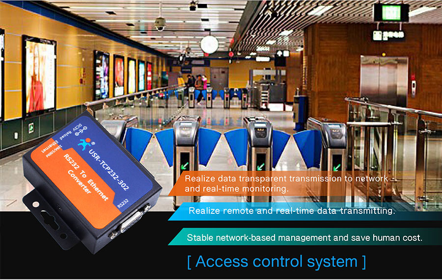 Application field of ethernet to rs232 converter : access control system