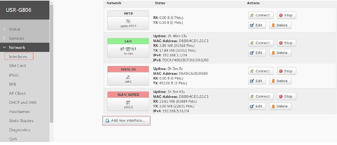 add OPENVPN interface