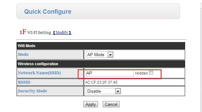 Change the SSID to AP and configure work mode as TCP server , port as 8899.