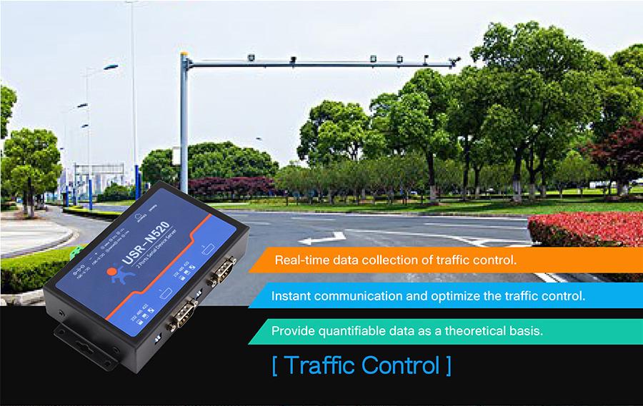 application of serial over ethernet server/ethernet to serial converter USR-N520:Traffic control