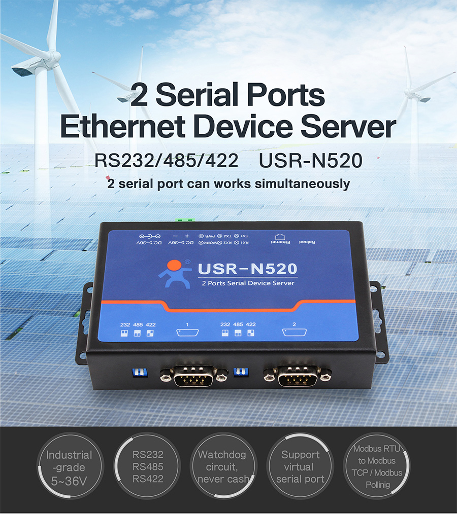 2 serial ports rs232 to ethernet converters/rs485 to ethernet converter/ RS-232/422/485 serial device server USR-N520