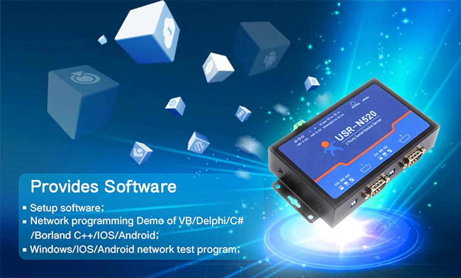 serial to ethernet device servers/serial to rj45 converter/ USR-N520 provides software